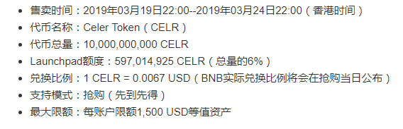 Celer项目在币安Launchpad完成众筹,17分钟35秒发售5.97亿枚