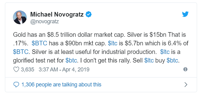 涨了还被嫌弃?Mike Novogratz:卖掉莱特币,买比特币
