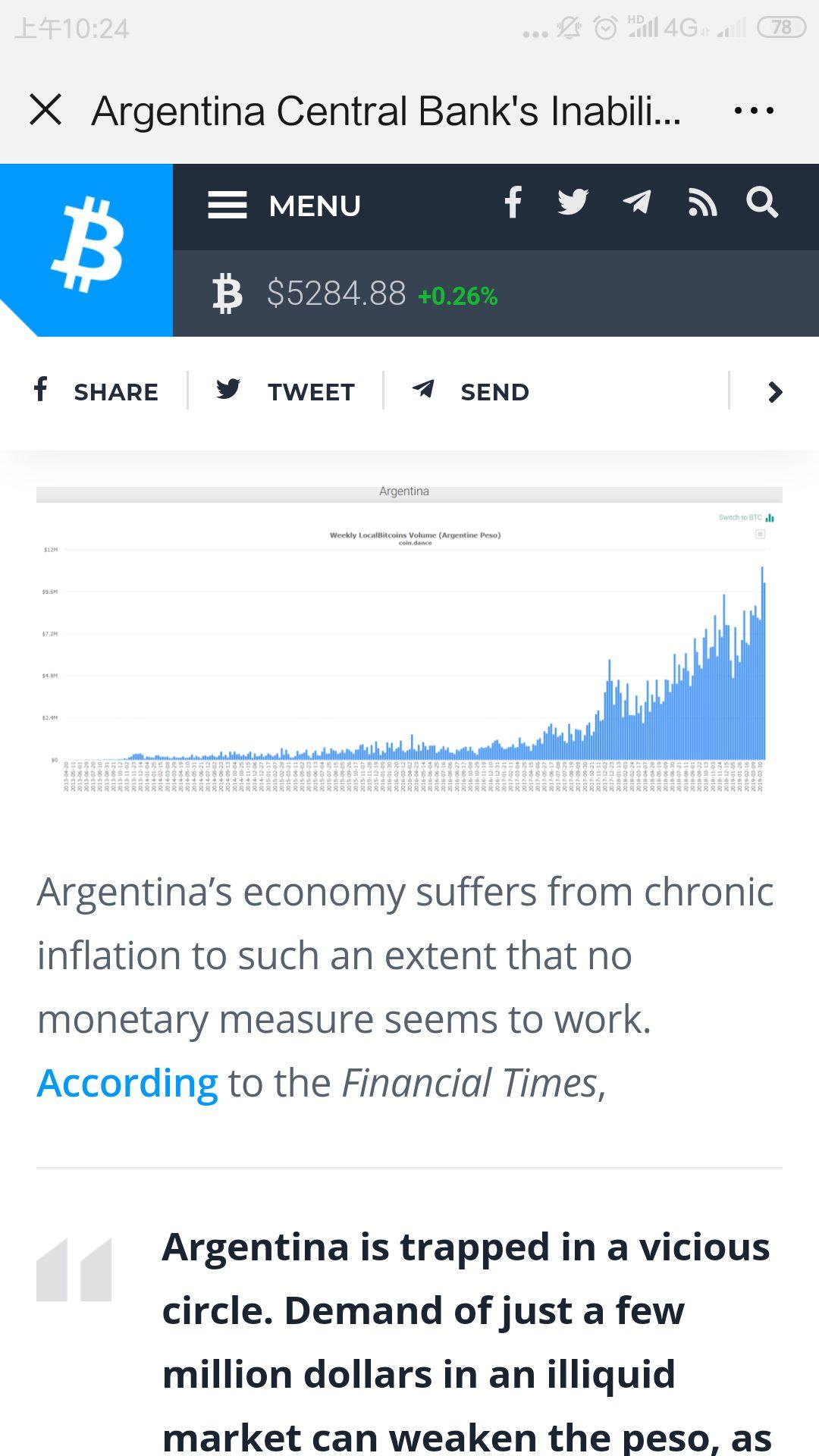 阿根廷通胀超54%,BTC成替代品,交易量达历史最高水平