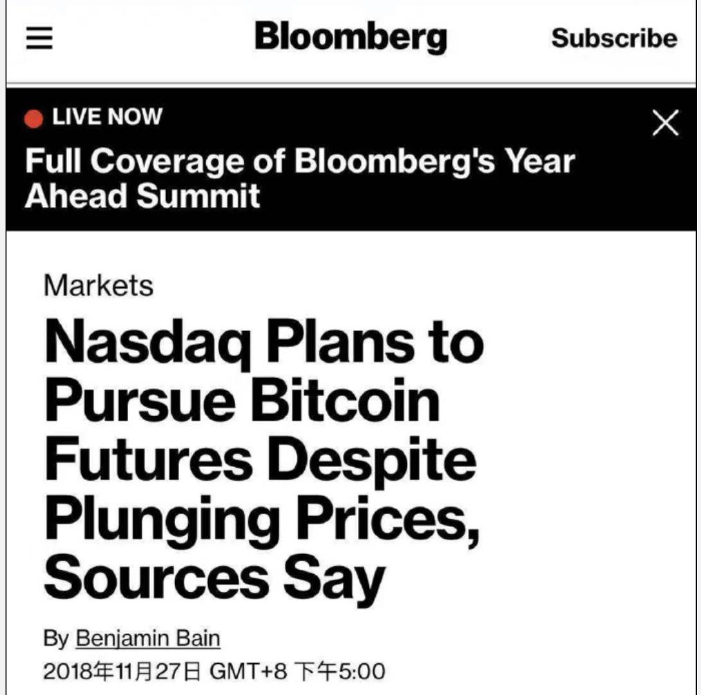 """纳斯达克:已加入比特币今年的""""愿望清单"""""""
