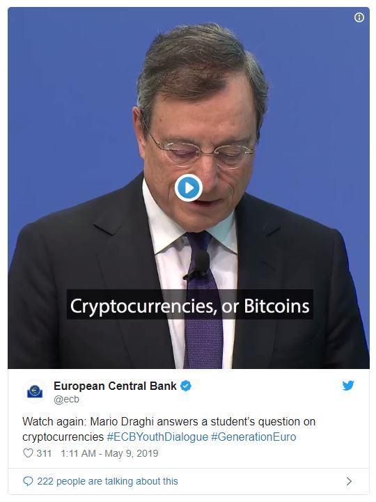 """欧洲央行主席:比特币不是货币,而是""""高风险""""资产"""