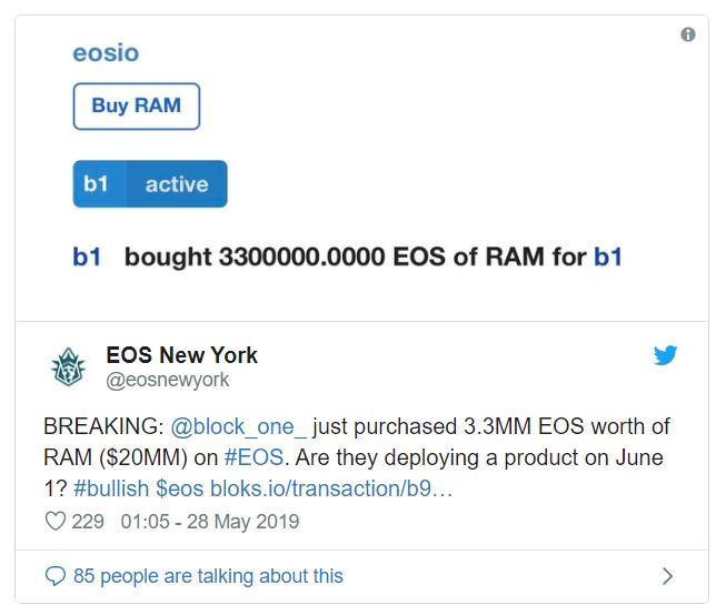 悄悄买入价值330万EOS的RAM,Block.one真的要做社交网络吗?