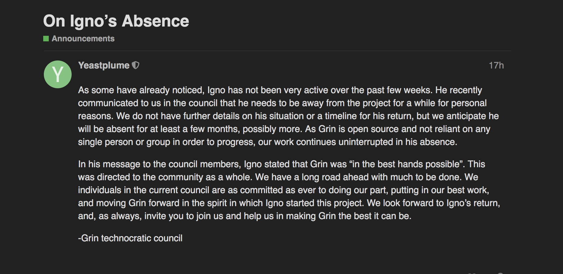 像中本聪一样消失,Grin创始人宣布暂时离开该项目
