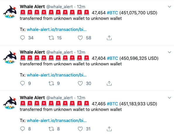 比特币转账优势再次凸显!鲸鱼转账4.68亿美元仅需数百美元手续费