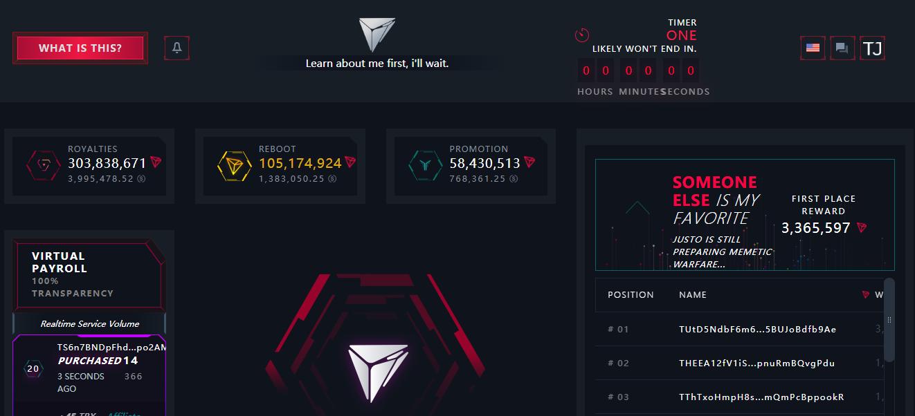 Fomo3D团队新游戏Just Game正式上线,交易流水超4亿枚TRX
