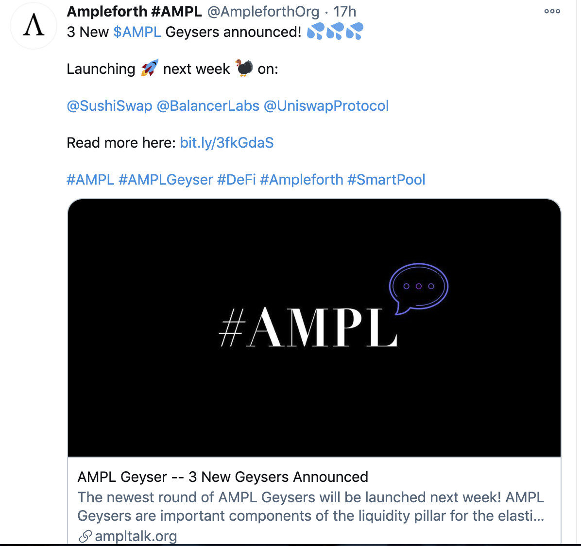 AMPL间歇泉V3来了,3个新池奖励390万个AMPL,这次有什么不一样